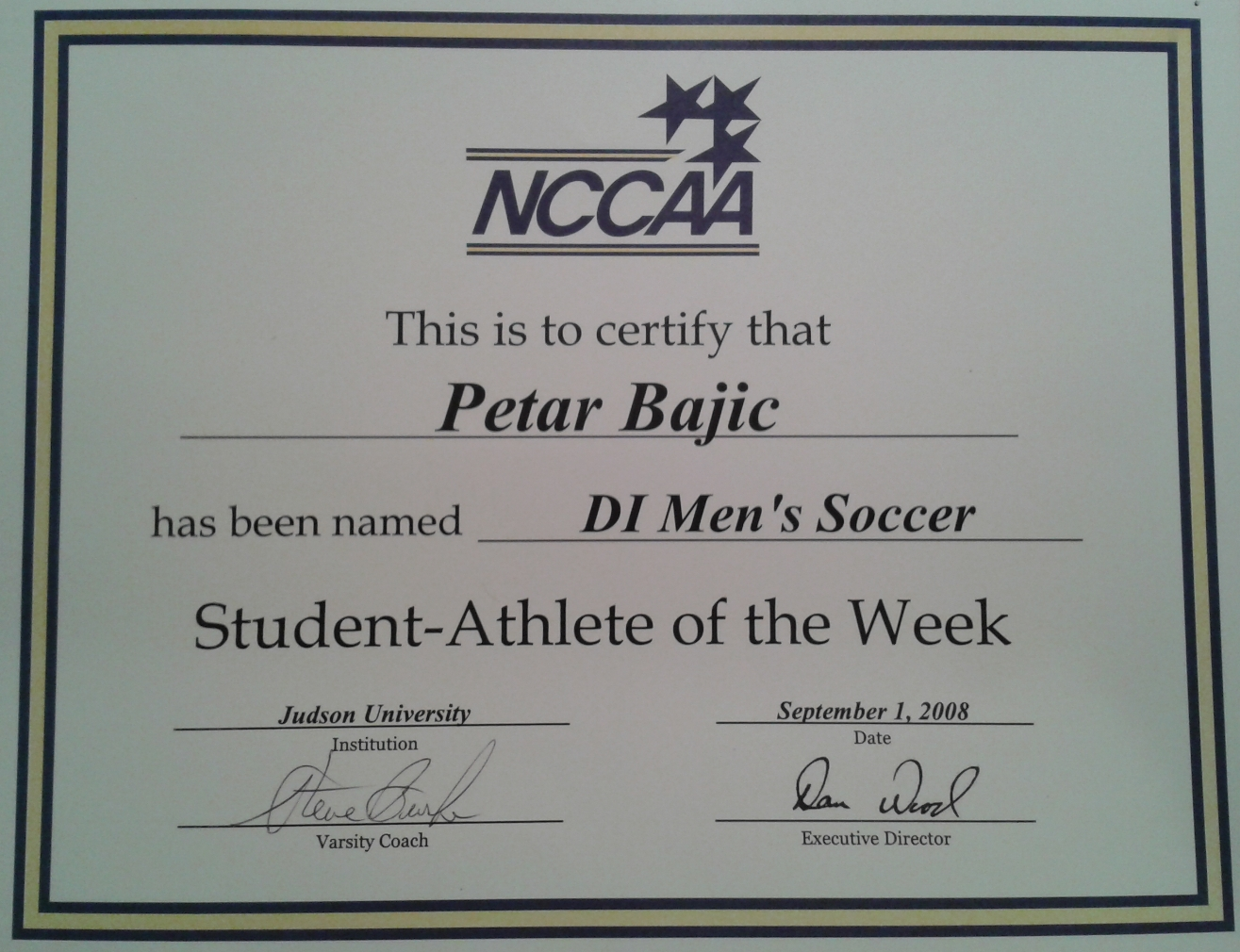Petar bajic soccer coach petars nccaa student athlete of the week certificate xflitez Choice Image
